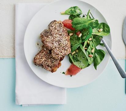 Cotelettes d agneau et salade d epinards